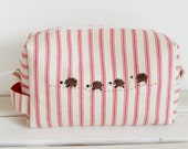 SALE Large box pouch - Red striped denim with needle felted hedgehog family applique