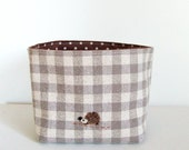 Small fabric basket - pale gray gingham with needle felted hedgehog applique (CD size)