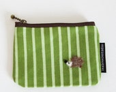 Coin purse - green stripe with hedgehog applique