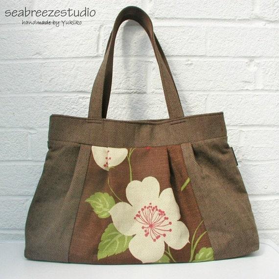 Pleated bag - Imari linen blend