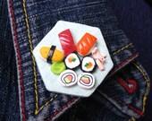 Sushi platter brooch