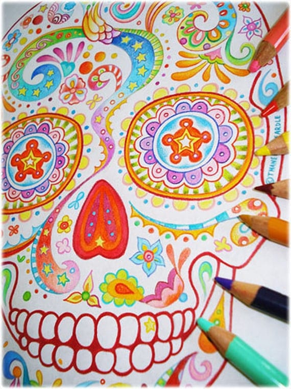 Sugar Skull Coloring Pages 21 Printable PDF Blank by thaneeya