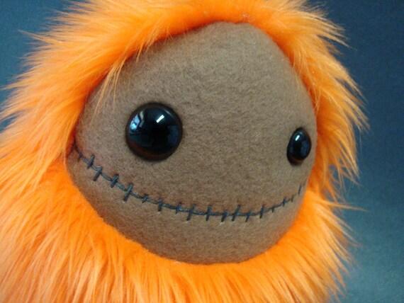 Stuffed Monster - Creepy Creeper - Orange Halloween Plush