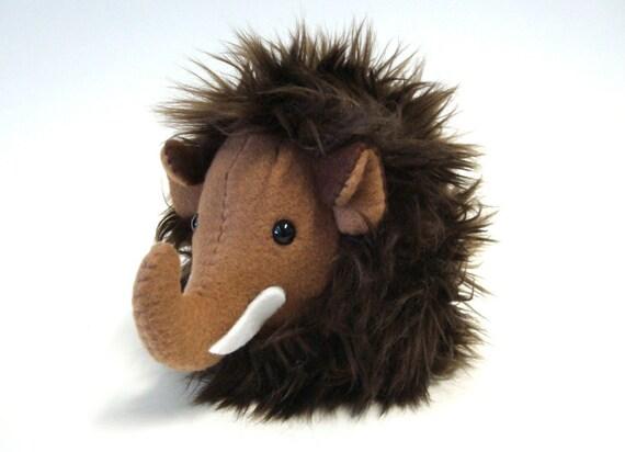 Plush Mini Mammoth -- Prehistoric Stuffed Animal -- Brown and Woolly -- Handmade and Collectible