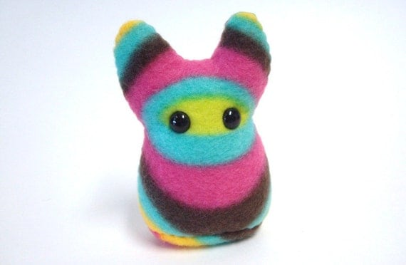Small Plush -- Space Cadet Something -- Stuffed Monster in Green, Blue, Pink, and Gray