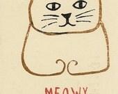 Meowy Christmas Hand Printed Card Set