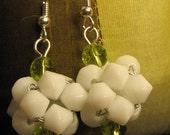 Super Cute Green and White Beaded Bead Earrings