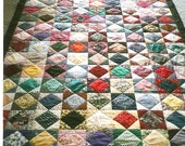 Square within a Square twin size handmade quilt