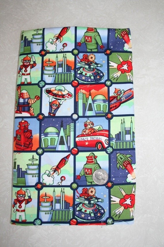 Space patrol retro robot fabric by michael miller for Vintage space fabric