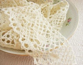 RESERVED . Crochet Trim, Romantic Natural Cotton Cluny Lace, 3 Yards