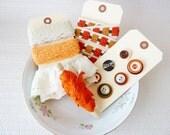 Inspiration Kit Tag in Orange Brown Cream, Vintage Buttons Trims Eyelet, Pumpkin Spice Latte