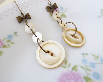 Antique Mother of Pearl Sewing Button Earrings