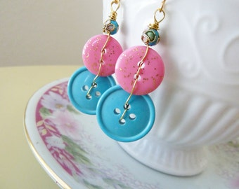 Repurposed Jewelry made with Vintage Buttons, Pink and Aqua Earrings, Glitter Earrings, Pastel Buttons and Cloisonne Bead Earrings