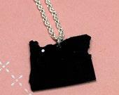 Oregon State Shape Necklace - Black with Swarovski Crystal on Portland