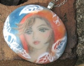 Girl in the Hood  - original art pendant