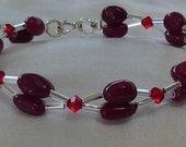 Deep Red Adventurine and Swarovski Crystal Bracelet-For Megumi