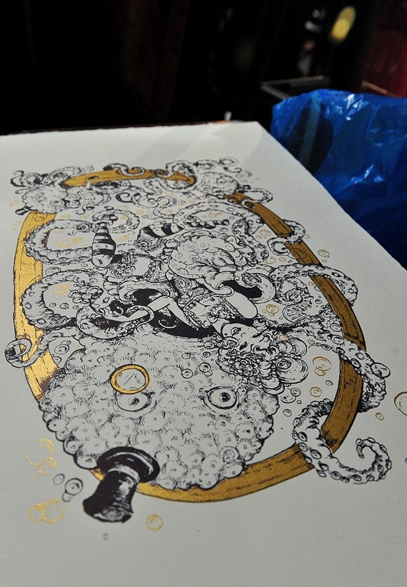 Limited Edition gold octopus serigraph