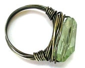Prasiolite (Green Amethyst) Faceted Nugget Ring - Oxidized Fine Silver