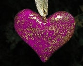 Sale Sacred Space  Folk Art  VIOLET Clay heart pendant flecked with Gold FREE SHIPPING