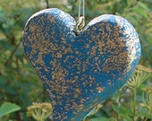 SALE   Sacred Space  Folk Art  Deep Turquoise heart pendant flecked with Gold FREE SHIPPING