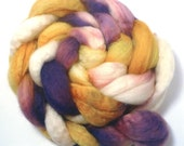 Handpainted BFL Roving - Royal - purple, gold, ivory