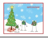 Frog Happy Holidays Christmas Set of Cards