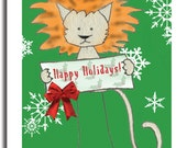Lion Happy Holidays Christmas Set of Cards