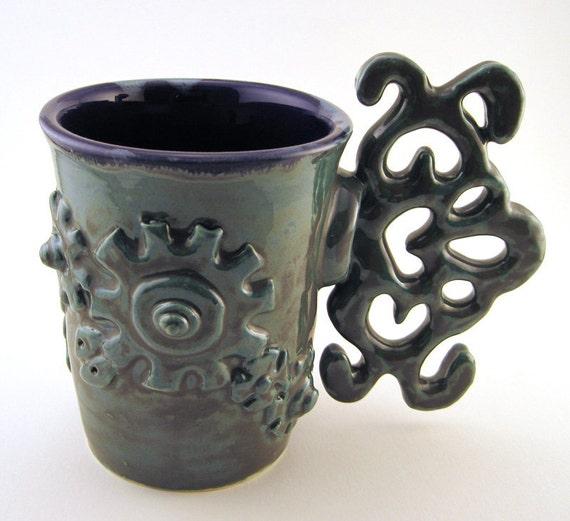 Steampunk mug, hardware, cup, coffee, tea, gears, clock works, metal