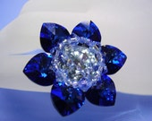 Swarovski 6 Petal Sapphire Flower Ring