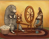 Spinning and Knitting - Sheep and Bunny Signed Art Print