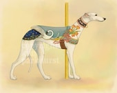Carousel White Greyhound Series Signed Print 1