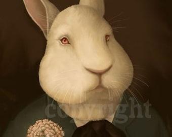 Victorian Bunny Rabbit Portrait Print Signed