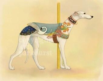 Carousel White Greyhound Series Signed Print 1