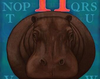 H Hippo Hippopotamus Alphabet Print 8x10 Signed