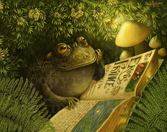 Cozy Fairy Tale Thank You Toad Firefly Signed Print