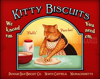 Orange Cat Kitty Biscuits Vintage Style Label Signed Print 8x10