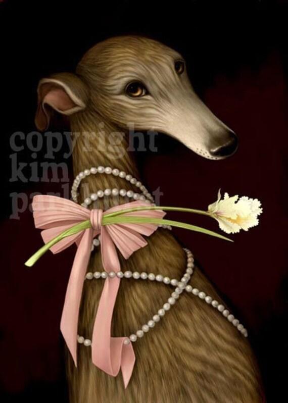 Glamour Greyhound Portrait Signed Print