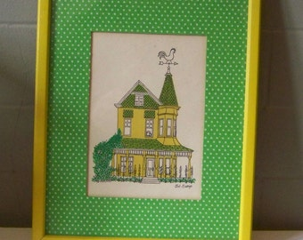 Yellow Victorian - vintage house art