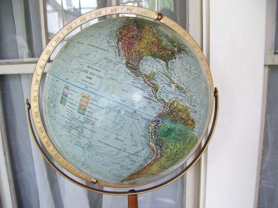 "Vintage Replogle 12"" Globe with wooden floor stand"