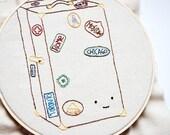 PDF Mini Embroidery Pattern - World Traveled Trunk