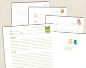 Little Owls - Printable Recipe and Menu Planning Pages