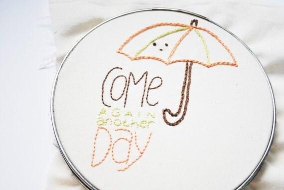 Falling on My Head - Spring Rain PDF Embroidery Pattern