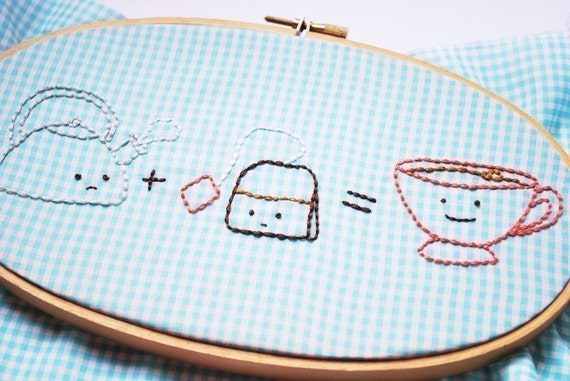 1 plus 1 is one - Food Math Hand Embroidery Pattern