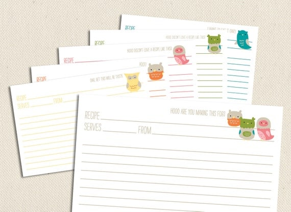 Little Owls - Printable and Editable 4x6 Recipe Cards