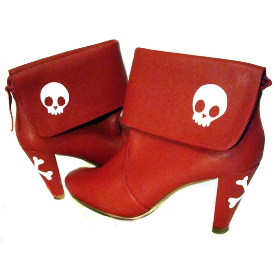 Miss Bunny Red Skull Booties. UK 6 \/ USA 9 \/ EU 39