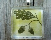 Green Oak Leaf and Acorn Glass Tile Necklace
