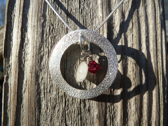 Natural Rudilated Quartz, Ruby Swarovski Crystal and Silver Sphere Necklace