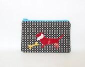 red tie dye dachshund - zippered pouch