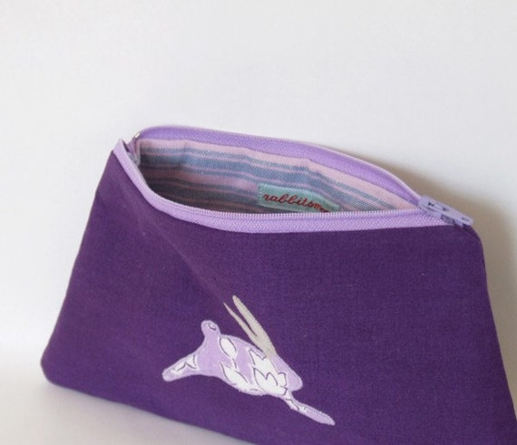 lilac leaping rabbit - zippered pouch