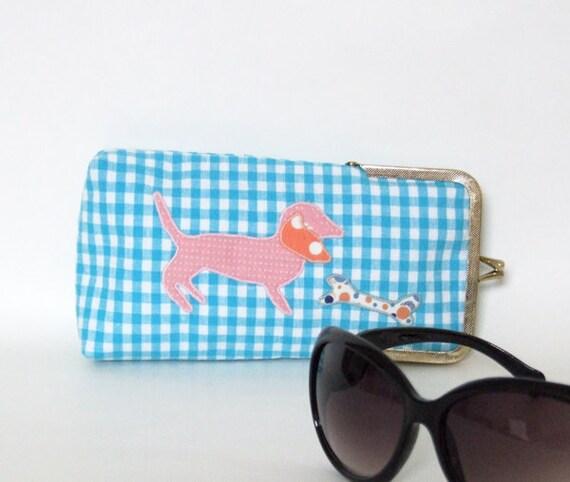blue gingham dachshund - eyeglass case